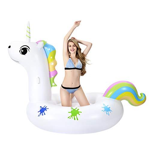 Grefay Luftmatratze Wasser Aufblasbares Einhorn Luftmatratze Pool PVC Aufblasbar Schwimmtier Wasserspielzeug Pool Floß für 1-2 Erwachsene/Kinder (Pink)