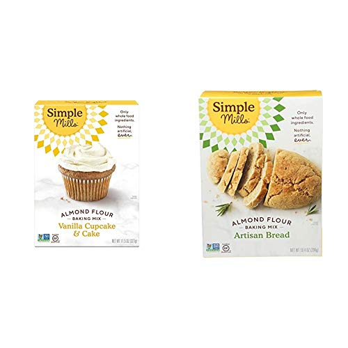 Simple Mills Almond Flour Baking Mix, Gluten Free Vanilla Cake Mix, Muffin pan ready, Made with whole foods & Almond Flour Baking Mix, Gluten Free Artisan Bread Mix, Made with whole foods