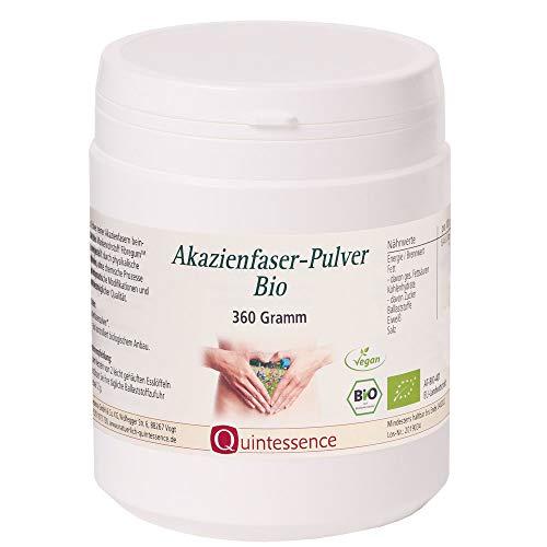 Akazienfaser Pulver, BIO, 360 g von Quintessence | Ballaststoffreich | Unterstützt das Wohlbefinden des Darms | Löst sich sehr gut in Wasser | Vegan | Reines Naturprodukt | Sehr gut verträglich