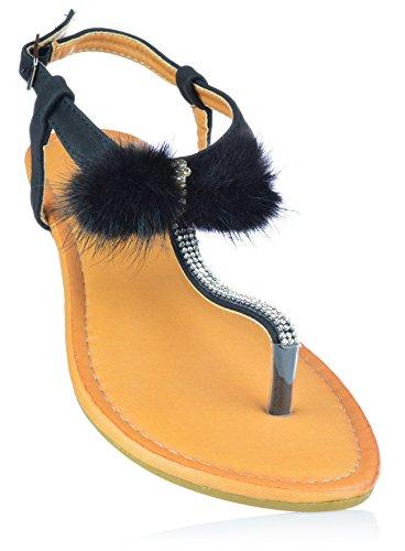 Damen Sandalen Sandaletten mit Strass und Bommel Zehentrenner Gr. 36-41 EUR 39 Schwarz