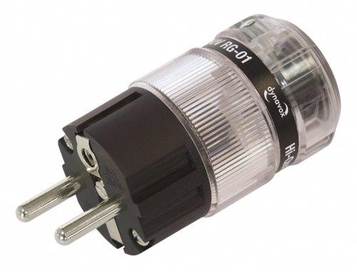 Dynavox High-End Schutzkontaktstecker aus thermoplastischem Kunststoff für Hifi-Geräte, Audio-Verstärker, CD-Player, Subwoofer, vernickelt