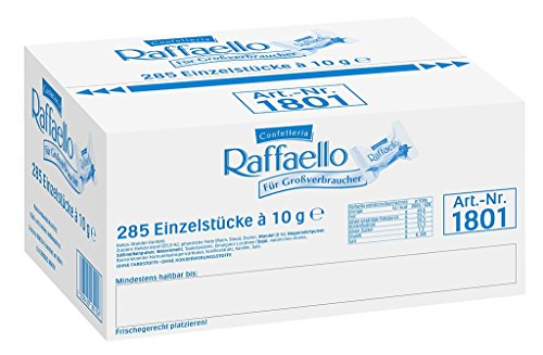 Raffaello - Großverbraucherpackung mit 285 Einzelpralinen, kugelförmige Waffel mit Kokosraspeln, zarter Milchcreme und weißer Mandel