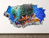 Etiqueta de la pared del acuario Pez 3D Smashed Art Póster de la pared Decoración de la habitación de los niños Pieza de leche 70x110cm
