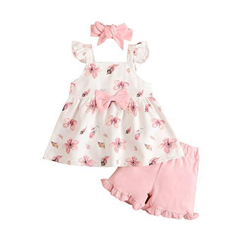 Toddler Girl Clothes Suit - Conjunto de 3 camisetas de bebé con pajarita y diadema, para verano, estilo informal, para salir a la calle Rosa 12-18 meses