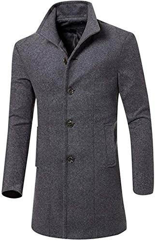 Bakugou Men's Trench Coat Wool Blend Slim Fit Top Single Breasted Business Overcoat Long Topcoats Notch Lapel Jackets