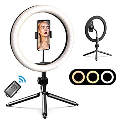 "12"" Selfie Ring Light with 52"" Extendable Tripod Stand & Phone Holders, APPHOME Dimmable 180 Beads Circle Light, Remote Shutter for Makeup/Live Stream/YouTube/TikTok, iOS/Android, w/Bag from APPHOME"