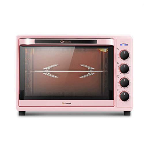 Smarta Retro Brödrostugnar 42l Bänkspis Ugn Med Emaljerad Gjutjärn & Griddle Och Lock Roaster Oven For Pizza Bake Cookie Pink