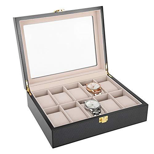 Caja de Relojes, Brrnoo 10 Rejillas Estuche de Almacenamiento de Relojes, Caja de Relojes para Organizadora y Exhibición, Madera Pintada