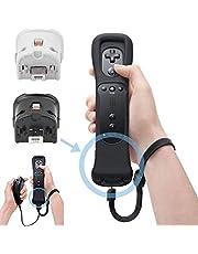 Adaptateur de Contrôleur de Capteur Remote Motion Plus + Étui en Silicone pour Nintendo Wii (Noir)