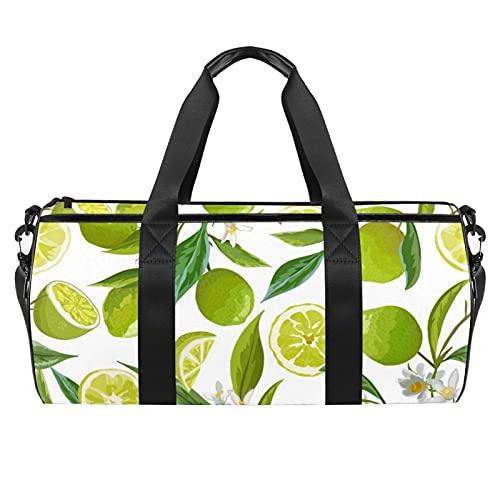 Borsa sportiva da palestra, borsa da danza media leggera e resistente, borsa da viaggio per uomini e donne, con graziosi fiori, Frutta di calce 5, 45x23x23cm,