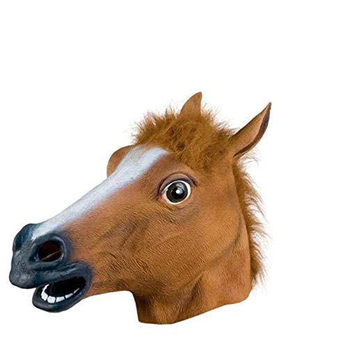 XWYWP Mscara de Halloween de cabeza de caballo espeluznante mscara de piel melena de goma ltex Crazy Animal Mscara de Halloween Mascarada Fiesta Disfraz Divertida Mscara Loca Blanca
