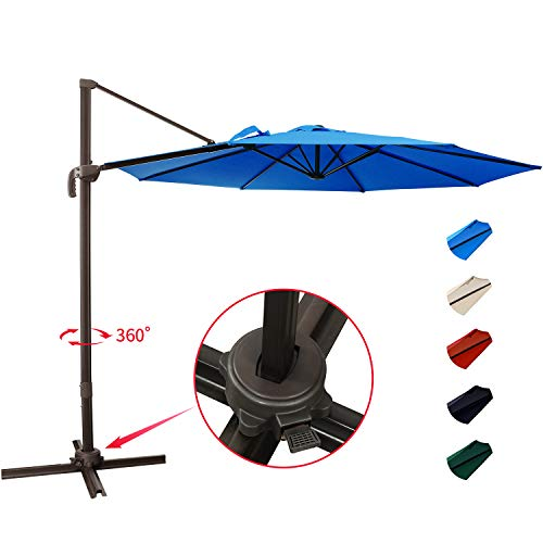 KITADIN Cantilever Umbrella - 10Ft Offset Patio Hanging Umbrella,Outdoor Market Umbrellas with Crank Lift & Cross Base (10 Ft, Lake Blue)
