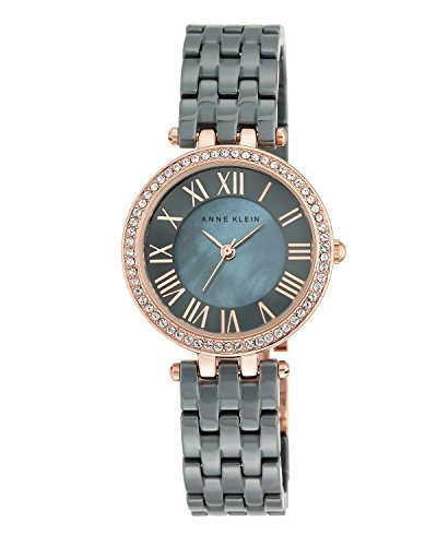 Anne Klein Women's AK/2200RGGY Swarovski Crystal Accented Grey Ceramic Bracelet Watch