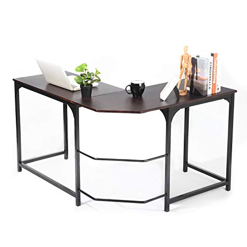 L Shaped Corner Desk, GreenForest Computer Gaming Home Office Desk PC Workstation Study Table, Espresso