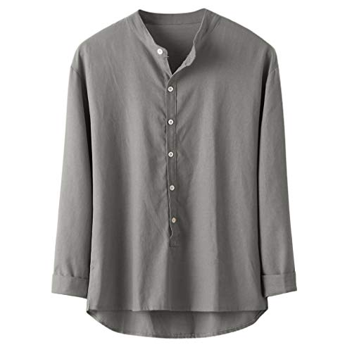 CAOQAO Camisas Hombre Lino Manga Larga Otoño Invierno Botón Casual Lino y Algodón