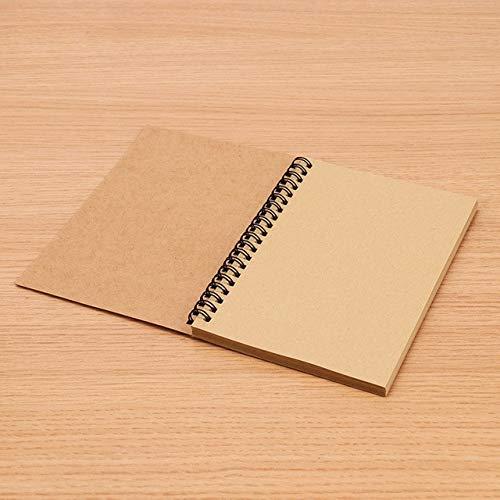 XMYNB Cuaderno Kraft Paper Material Doble Bobina Anillo Spiral Cuaderno Sketchbook Diario Para Dibujar Pintura Papel Bloc De Notas
