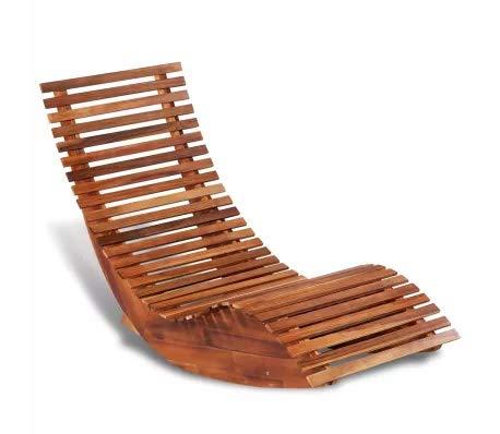 GOTOTOP Chaise longue à bascule en bois d'acacia - 149 x 60 x 86 cm - Résistante aux intempéries - Ergonomique - Jardin piscine extérieur terrasse patio