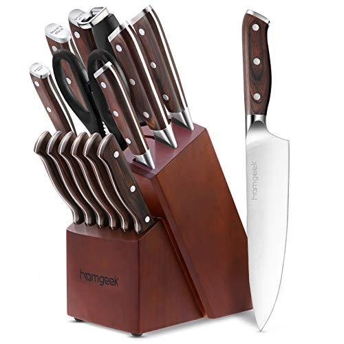 homgeek Profi Messerblock, 15-teiliges Messerset, aus Extra Scharf Deutschem 1,4116 Edelstahl, Hochwertig Küchenmesser Set mit Holzblock, Schere und Schärfer