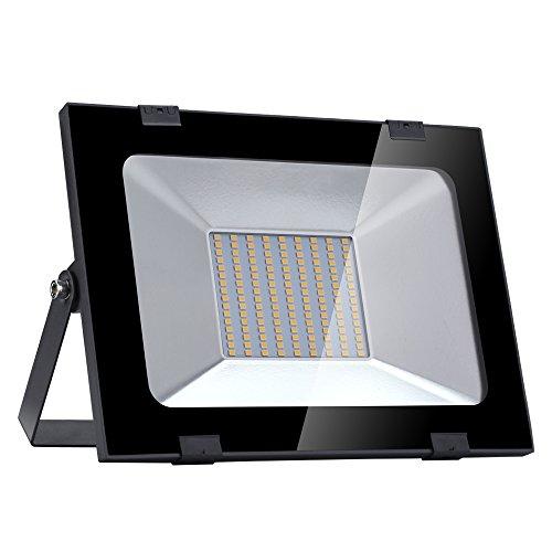 Yuanline Focos LED Exterior de Blanco Cálido 100W 10000LM, 3000k, Ultrafino y Ultraligero para Jardín, Garaje, Patio, Estadio, Fábrica, Almacén, Cuadrado Resistente al Agua IP65