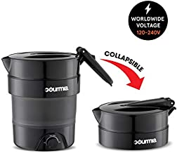 Gourmia GK378 Dual Voltage Electric Collapsible Travel Kettle - 1.5 Qt Capacity - Foldable & Portable - Fast Boil - Water Boiler For Coffee, Tea & More - Keep Warm Function