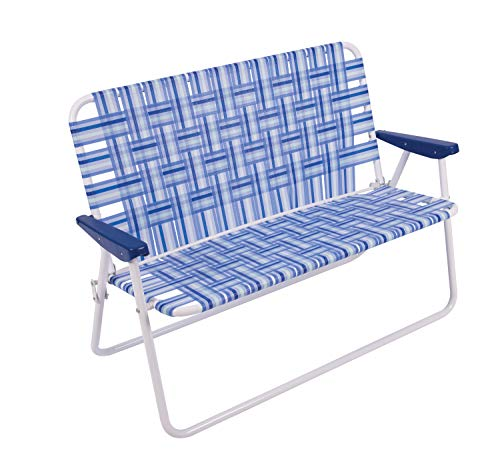 """16"""" Extended Height Folding Double Wide Web Lawn Chair Loveseat, Blue/White"""