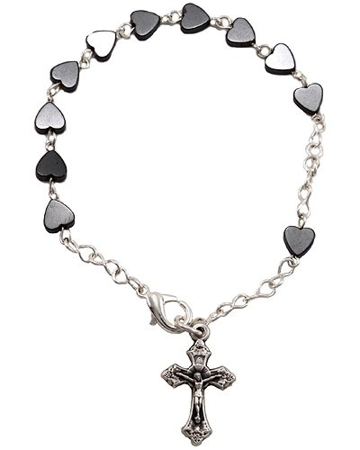 Hematite Rosary Bracelet Heart Shaped Beads