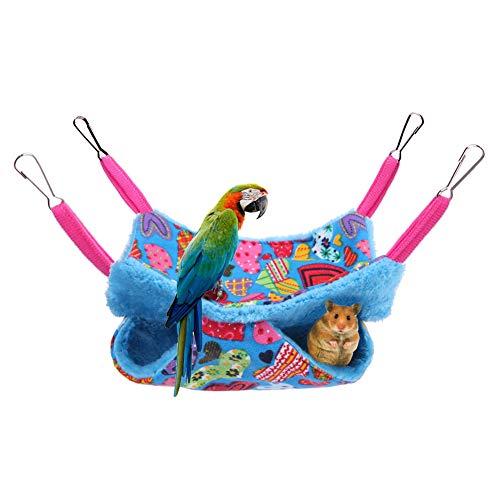 Yissma Hamaca Colgante para Mascotas de Doble Capa, Hamaca Cama de hámster Cama de Ardilla de Lana de Coral Cama Estera para pequeños Animales
