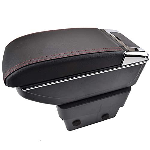 XiupzI - Reposabrazos para S-koda para O-ctavia A7 Mk3 2014-2017 doble capa apoyabrazos reposabrazos, consola central, caja de almacenamiento bandeja 2015 2016 (hilo rojo)
