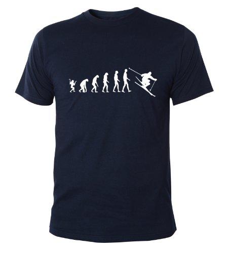 Mister Merchandise Cooles Herren T-Shirt Ski Evolution Ski Fahren Skiing, Größe: XXL, Farbe: Navy