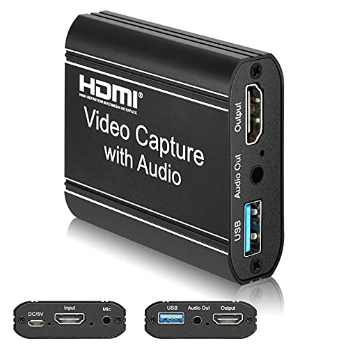 LAVKOW Video Capture Card, HDMI Game Capture Card with 4K 60fps Loop-Out, USB2.0 Adapter for Streaming, Video Conference or Live Broadcasting, Compatible with PS4/PS5/Nintendo Switch/OBS/DSLR
