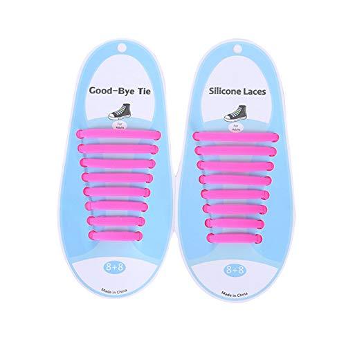SZXCX Correa de Encaje de Silicona de Color Creativo Cordón de Zapato Perezoso sin Lavado Cordón de Zapato Informal elástico Cordón de Zapato de Silicona - Rosa