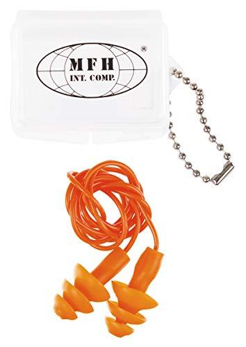 MFH Gehörschutzstöpsel, orange, mit Transportbox, oliv