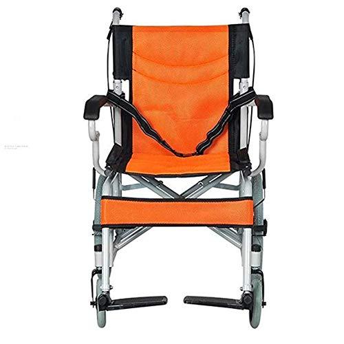 NACHENW Aluminium Rolstoel Lichtgewicht Draagbare Vouwframe Stoel Terug Voet Booster Afneembare Leggings En Riemen Oranje