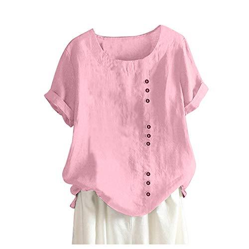 Frauen Lässiges Leinenoberteil mit losen Knöpfen Plus Size Bohemian T-Shirt Daily Tunics T Shirt Frauen Oversized Blusen Damen Langarm Longbluse Damen Weiß