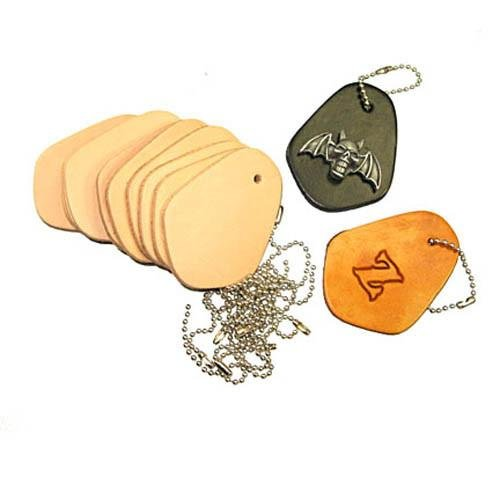 Key Fob Kits 10 Pack - Pre-Punched Vegetable Tanned Tooling Leather with Bead Chain