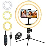 Nasam 10' Selfie Ring Light with Tripod Stand and Phone Holder, LED Phone Light for Zoom Meeting/Broadcast Live, Camera Photography YouTube Video Recording Girls Makeup Live Streaming