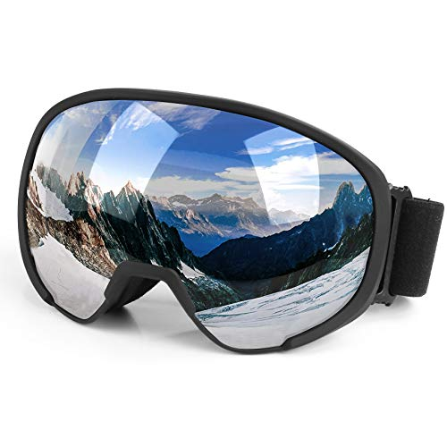 Flantor Ski Goggles, OTG Snowboard Goggles Helmet Compatible Snow Goggles,Outdoor Sports Tactical Glasses with Detachable Lens Non-Slip Strap for Men and Women - 100% UV Protection