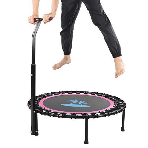 Zwindy Mini trampolín, trampolín, trampolín Plegable con pasamanos Fitness Rebounder Reductor de Peso Rosa Rojo para niños Interior Adultos al Aire Libre