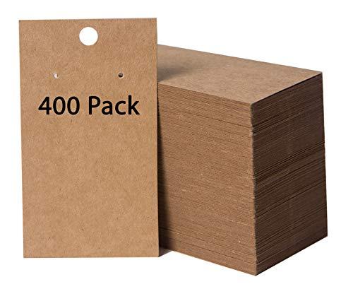 400 Pack Earring Cards - Earring Card Holder - Custom Earring Cards for Earring Display - Hanging Earrings - Bulk Earring Cards - 2 x 3.5 Inches - Brown (Pack of 400)