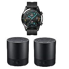 HUAWEI Watch GT 2 Smartwatch (46mm, OLED Touch-Display, Fitness Uhr mit Herzfrequenz-Messung, Musik Wiedergabe & Bluetooth Telefonie) Matte Black + 2X Bluetooth MiniSpeaker CM510, Schwarz©Amazon