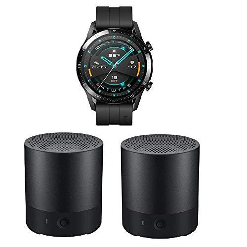 HUAWEI Watch GT 2 Smartwatch (46mm, OLED Touch-Display, Fitness Uhr mit Herzfrequenz-Messung, Musik Wiedergabe & Bluetooth Telefonie) Matte Black + 2X Bluetooth MiniSpeaker CM510, Schwarz