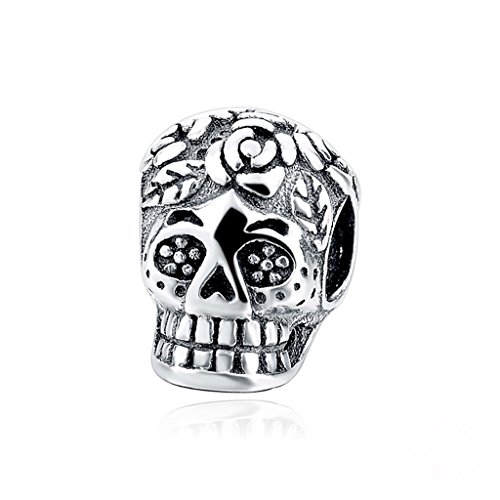 Kustom Factory - Abalorio de calavera mexicana de plata para Pandora