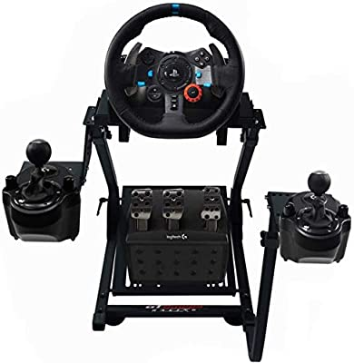 GT Omega Racing Wheel Stand for Logitech G920 G29 G923 Driving Force Gaming Steering Wheel, Pedals & Gear Shifter Mount V1, PS4, Xbox, Ferrari, PC - Tilt-Adjustable to Ultimate Sim Racing Experience