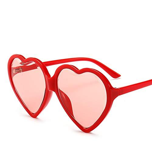 Faus Koco Negro Rojo Amarillo Gafas De Sol Mujer Diamante Corte Borde Tipo De Corazón Gafas De Sol Mujer Caja Grande Tendencia Amor Gafas De Sol (Color : Red)