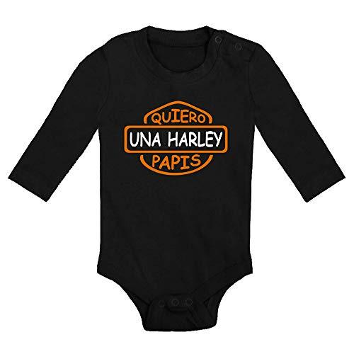 ClickInk Body bebé Quiero una Harley papis. Regalo bebé. Regalos para bebés. Regalo divertido. Bebé friki. Regalo friki. Body friki. Bebé motero. Body bebé algodón. Manga larga.
