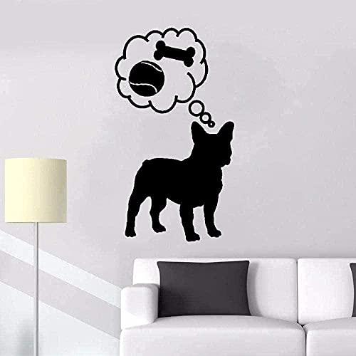 Abnehmbare PVC-Wandaufkleber Wandtattoos Cartoon Tiere süße Hunde Spielen und Essen Zoohandlung Kinder Kunst Poster 30X55cm