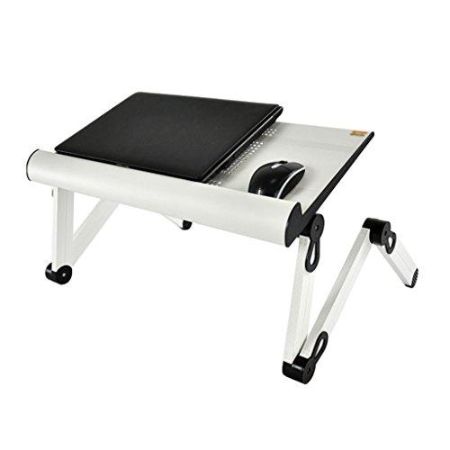 Support d'ordinateur portable pliable réglable, table de bureau en alliage d'aluminium noir Support d'écran portable multi-angle (Couleur : Blanc, taille : 56 * 23.5CM)