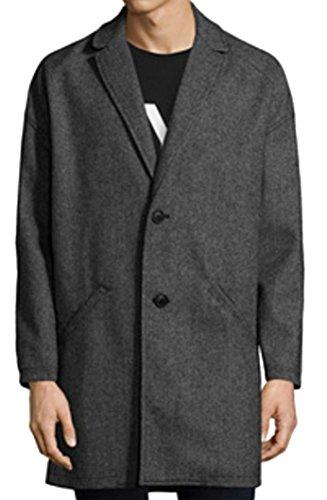 Bershka Herren Caban Mantel Black Light Grey Gr. XL, Black Light Grey