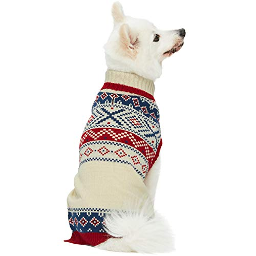 """Blueberry Pet 2020 New Holiday Christmas Chic Turtleneck Fair Isle Fall Winter Pullover Dog Sweater in Creamy White, Back Length 14"""", Warm Clothes for Medium Dogs"""
