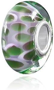 Materia{925} plata Beads objetos de cristal de Murano Colgante violeta verde de lunares para European Beads Pulsera/collar #1032
